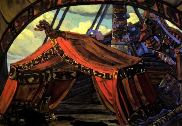 Рерих Н. К. Корабль Тристана, Тристан и Изольда (для оперы Зимина, 1912, не поставлено)